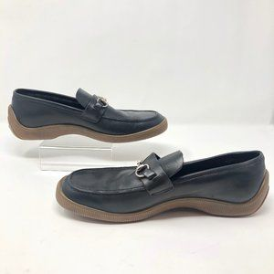 Gucci Black Leather Horsebit Loafers Rubber Soles